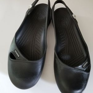 CROCS Shoes - Croc black sandal/maryjanes/slipons size 7W